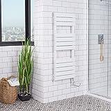 Sèche-serviettes radiateur plat mixte design 563 Watts 1200 x 450 Blanc Salle de bains