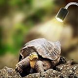 Mallalah Lampe Chauffante pour Aquarium Éclairages 25W UVA UVB avec Base Longue 360° Rotation pour Reptiles et Amphibiens