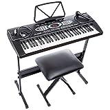 Alesis Melody 61   Piano Numérique 61 Touches Portable avec Haut-Parleurs Intégrés et 200 Sons – Inclus Microphone, adaptateur d'alimentation, Casque Audio, Pupitre, Support et Banquette