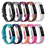 SnowCinda Bracelet pour Fitbit Alta et Fitbit Alta HR,Bracelet Réglable de Remplacment en Silicone Fitbit Band avec Boucle Métal en Acier Inoxydable 10PCS S