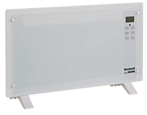 Einhell GCH 2000 Radiateur convecteur en verre (2000W, 2 niveaux de chaleur, écran LCD tactile, minuterie, télécommande, design moderne, installation au mur ou sur pied), GCH 2000