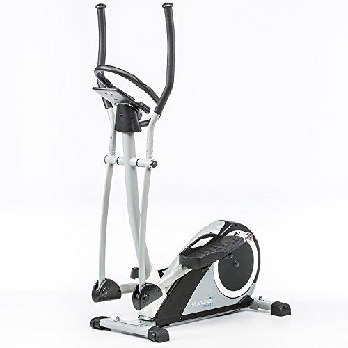 Skandika Fitness skandika Ares-Vélo elliptique-6 programmes-24 Niveaux de résistance-Max.130 Kg-Bluetooth, Gris