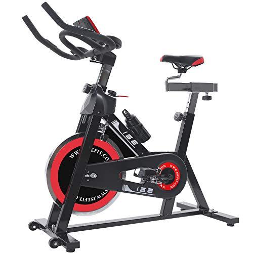 ISE Vélo d'Appartement Vélo Spinning, Volant d'inertie de 15 kg + Programme et l'Ecran LCD, Cardiofréquencemètre, Silencieux avec Porte-Bouteille & Roue, SY-7001