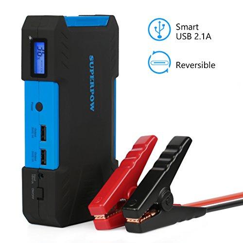 Leelbox - Superpow Booster Voiture 18000mAh 800A Peak Chargeur de Batterie Portable Booster Batterie Jump Starter supporte les Moteurs à 6,5L d'Essence ou à 5.2L de Diesel avec LED Flashlight (bleu)