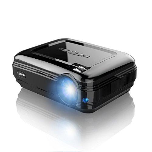 3200 Lumens Projecteur Full HD 1080P Vidéoprojecteur, LESHP LED Vidéoprojecteur de Cinéma Maison 1280 × 1920 Contraste Max 3000: 1, Support USB / VGA / SD / HDMI