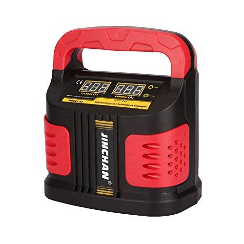 JINCHAN Chargeur de Batterie Moto Voiture Mainteneur Intelligent Automatique de 12 V 24 V(DC)/160V-260V(AC)/40 AH à 200 AH