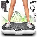Plate-forme vibrante VP200 technologie oscillation Bluetooth, Affiche incluse, sangles cordes de traction télécommande, haut-parleurs intégrés plateforme oscillatoire massage (Noir) (Blanc)