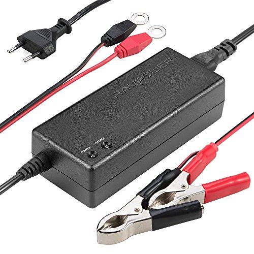 RAVPower Chargeur de Batterie Auto Voiture Mainteneur Universel 12V 1.5A DC Charge 2x Plus Rapide - Avec Pinces Croco et Clips Détachables Convient à Tous Types de Véhicules à Batterie 12V