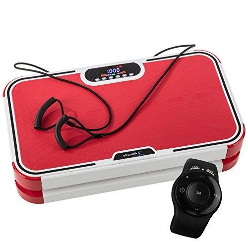 skandika Home Vibration Plate 900 Plus - Plateforme vibrante oscillante - 5 Programmes - 2 Moteurs - Sangles élastiques -Télécommande au Poignet (Rouge)