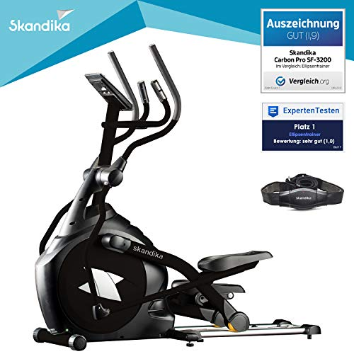 skandika CardioCross Carbon Pro - Vélo elliptique - Masse d'inertie: 23,5 kg - Poids max. 145kg - 19 Programmes - Sangle cardio incluse (Noir)
