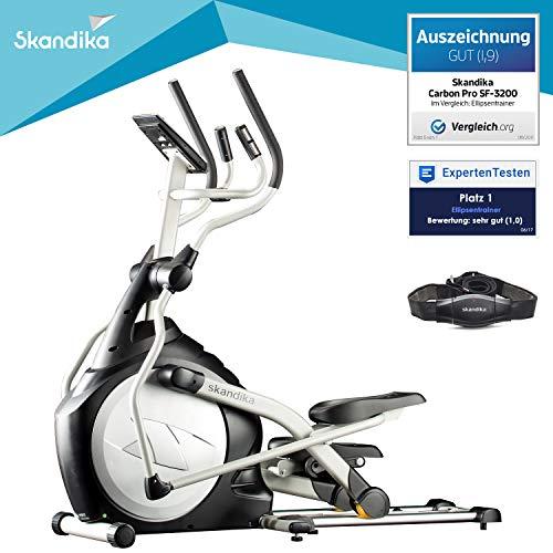 skandika CardioCross Carbon Pro - Vélo elliptique - Masse d'inertie: 23,5 kg - Poids max. 145kg - 19 Programmes - Sangle cardio incluse (Argent)