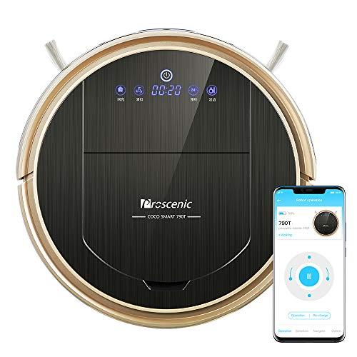 Proscenic 790T Aspirateur sans fil Robot (2 en 1 : robot aspirateur et robot balai d'essuyage), auto-chargement, carte visuelle, commande vocale Alexa