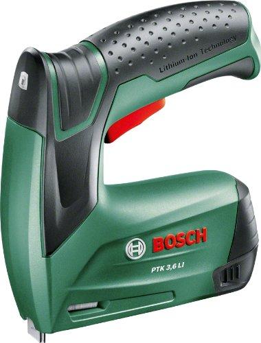 Agrafeuse sans fil Bosch - PTK 3,6 LI (Livrée avec boîte en Métal, 1000 Agrafes (Type 53, Longueur 8 mm) et Chargeur)