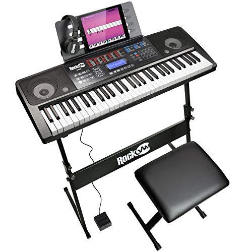 Rockjam 61 Kit Clavier Piano 61 Écouteurs Clés Stand Clavier Banc de Clavier de Piano Numérique Pédale de Sustain et Simplement L'Application de Piano